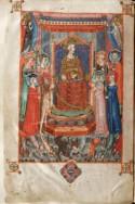 De imposante openingsminiatuur van de bijbel, met centraal Robrecht I van Anjou