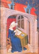Miniatuur van Christine de Pizan, aan het werk in haar studeerkamer