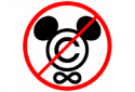 Copyrightsymbool met een verbodsbord