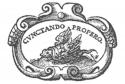 Het logo van de STCV: een drukkersmerk met een gevleugelde schildpad