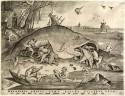 Prent van Bruegel met vissen