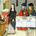 Een arme wordt door een zuster uitgenodigd aan tafel