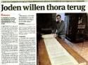 Artikel over de tora in Gazet van Antwerpen