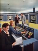 Tekening van een computerzaal in de jaren 1960