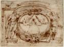 Ontwerptekening van Peter Paul Rubens van het drukkersmerk van de Officina Plant