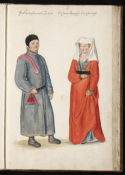 Man en vrouw in historisch kostuum