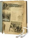 Geïllustreerde historische krant in slechte staat waar digitale kabels uitkomen