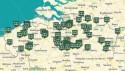 kaart met 150 erfgoedbibliotheken uit Vlaanderen en Brussel