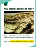 Boekensteun-poster met de tekst 'Uw erfgoedproject hier?'