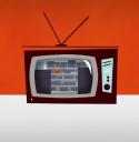Televisie met beeld van erfgoedmagazijn op het scherm