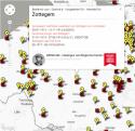 Kaart van Vlaanderen met lijstje van kranten bestemd voor Zottegem