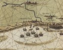 Detail van oude landkaart met schepen