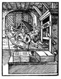 tekening van mensen die een boek printen met een drukpers