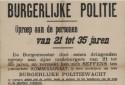 affiche uit WOI die oproept tot inschrijving bij de burgerlijke politiewacht