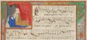 oud muziekhandschrift met afbeelding van biddende dame