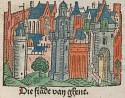 Detail uit een kroniek van 1480 met handgekleurde verluchtingen