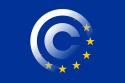 Copyrightsymbool geprojecteerd op de Europese vlag