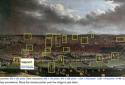 Annotatie van de weergegeven gebouwen op 'Vue de Bruxelles'
