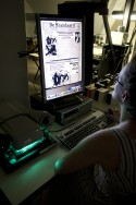Krant op microfilmlezer