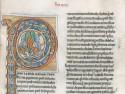 Fragment uit een middeleeuws monastiek handschrift met versierde initiaal