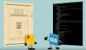 Cartooneske afbeelding met links een papieren boek en rechts XML