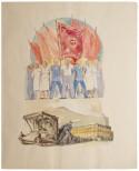 Illustratie van socialisten met rode vlaggen uit een van de guldenboeken