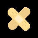 Twee pleisters in kruisvorm