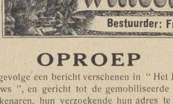 tekst oproep in krant