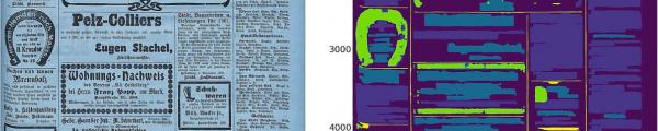 Krantenpagina met overlay van herkende elementen