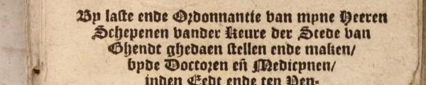 Titelpagina oude druk Universiteit Gent