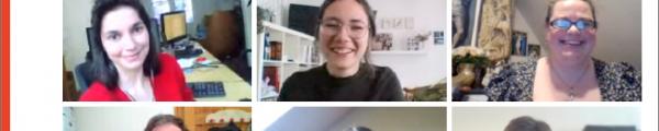 Cover jaarverslag met 18 mensen voor hun webcam