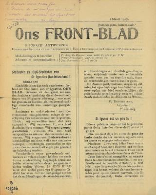 Een exemplaar van een frontblad uit de Eerste Wereldoorlog