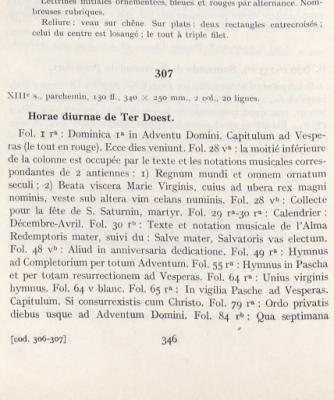 Beschrijving van handschrift 307 in de catalogus van A. de Poorter