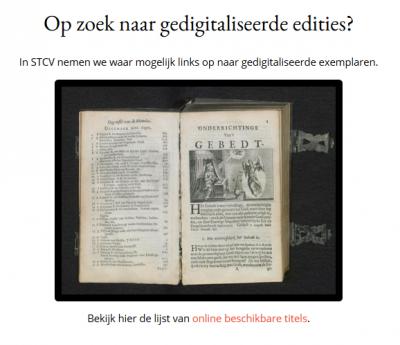 Onderdeel STCV homepage over digitale edities