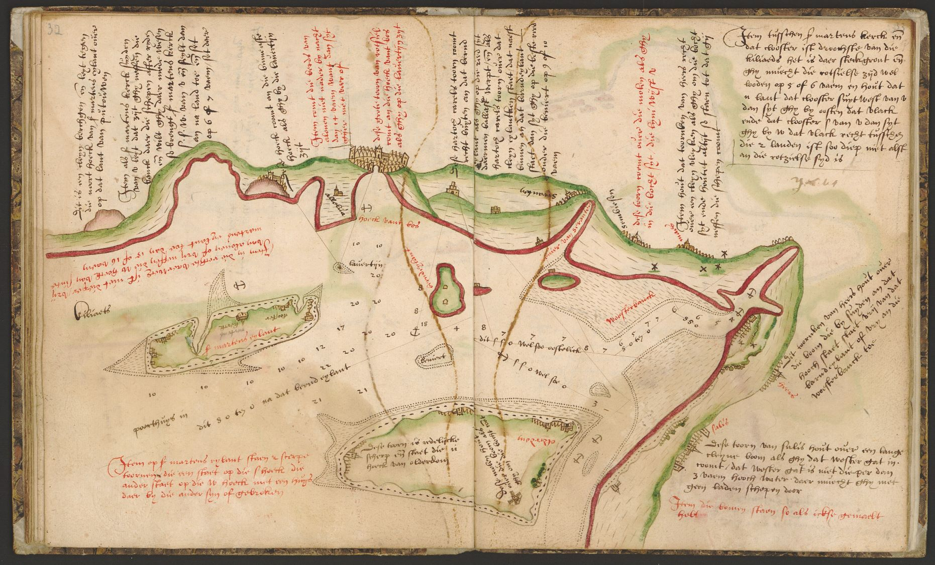Pagina's uit het zeeboek met navigatieinstructies
